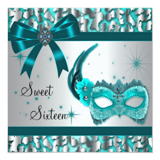 Teal Blue Leopard Sweet Sixteen Masquerade Party Card