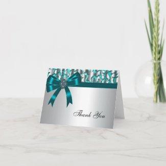 Teal Blue Leopard Thank You Card card