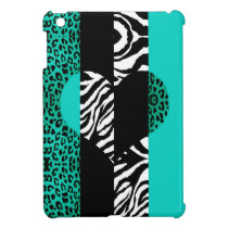 Teal Blue Leopard Zebra Custom Animal Print Heart iPad Mini Cover