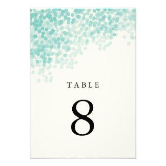 Teal Blue Light Shower Table Number Cards