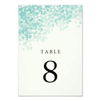 Teal Blue Light Shower Table Number Cards Personalized Announcements