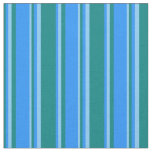 [ Thumbnail: Teal, Blue & Light Sky Blue Colored Pattern Fabric ]