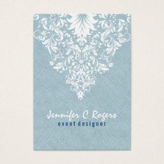Teal Blue Linen Texture White Floral Lace Business Card