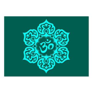 Teal Blue Lotus Flower Om Large Business Cards (Pack Of 100)