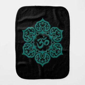 Teal Blue Lotus Flower Om on Black Baby Burp Cloth