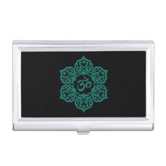 Teal Blue Lotus Flower Om on Black Business Card Holder