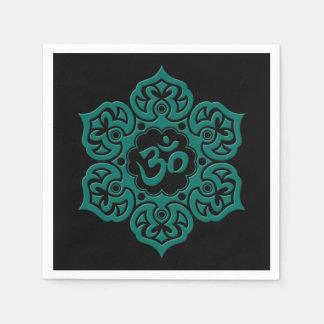 Teal Blue Lotus Flower Om on Black Paper Napkins