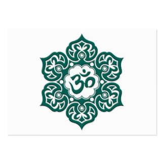 Teal Blue Lotus Flower Om on White Large Business Cards (Pack Of 100)