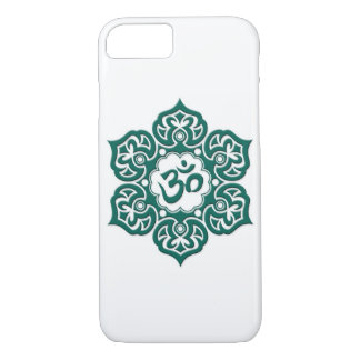 Teal Blue Lotus Flower Om on White iPhone 7 Case