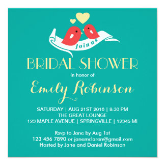 Teal Blue Lovebirds Bridal Shower Invitation