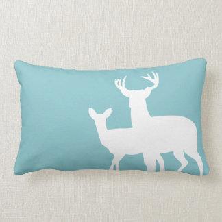 Teal Blue Male Female Deer Pillows