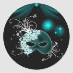 Teal Blue Mardi Gras Mask Envelope Seal Sticker