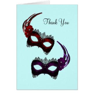 Teal Blue Mardi Gras Masks Thank You Cards