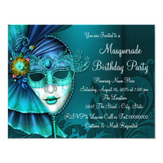 Teal Blue Mask Masquerade Party Card