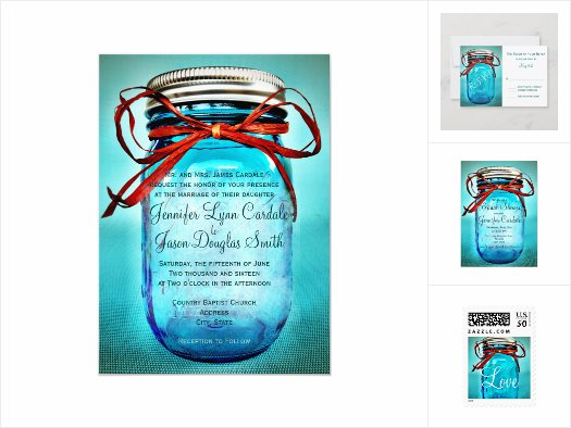Teal Blue Mason Jar Wedding Invitation Set