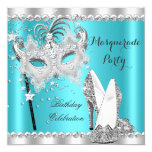 "Teal Blue Masquerade Mask Hi Heels Birthday Party 5.25"" Square Invitation Card"