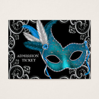 Teal Blue Masquerade Party Admission Tickets  Prom Tickets Design