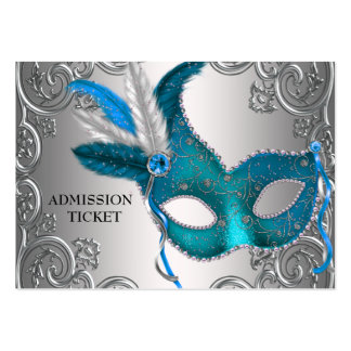 Teal Blue Masquerade Party Admission Tickets Large Business Card