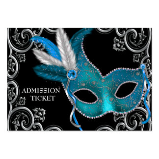 Teal Blue Masquerade Party Admission Tickets Large Business Cards (Pack Of 100)