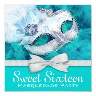 Teal Blue Masquerade Party Custom Invitation