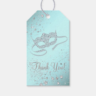 Teal Blue Masquerade Party Gift Tags