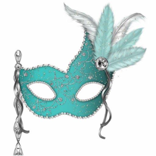 Teal Blue Masquerade Party Photo Cutouts Zazzle
