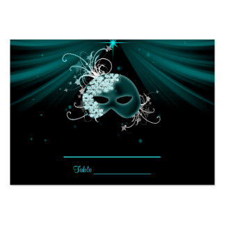 Teal Blue Masquerade Party Table Cards Business Card Template
