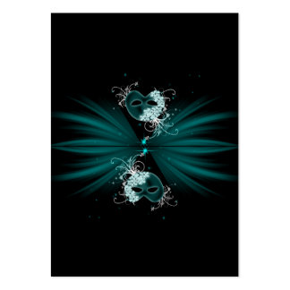 Teal Blue Masquerade Party Table Cards Business Cards