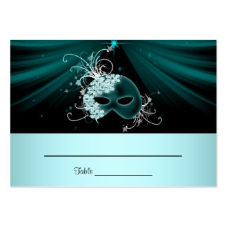 Teal Blue Masquerade Party Table Cards Business Card