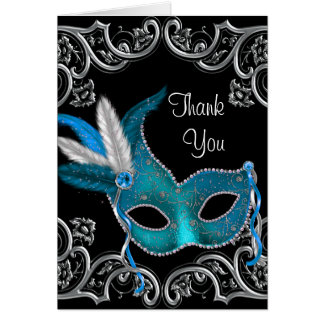 Teal Blue Masquerade Party Thank You Cards