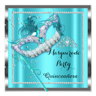 Teal Blue Masquerade Quinceanera Party Mask 2 Card