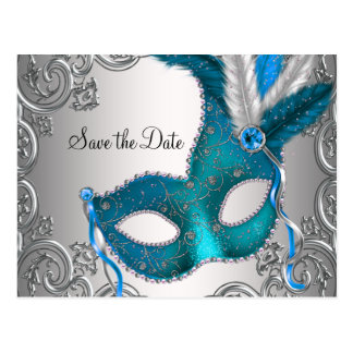 Teal Blue Masquerade Save The Date Postcard