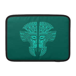 Teal Blue Mayan Twins Mask Illusion MacBook Air Sleeve