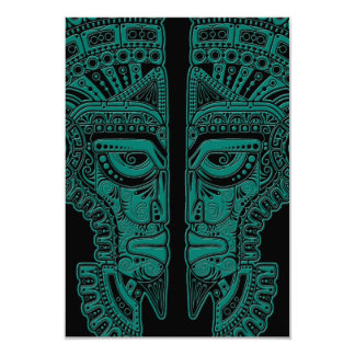 Teal Blue Mayan Twins Mask Illusion on Black Card