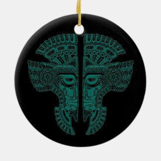 Teal Blue Mayan Twins Mask Illusion on Black Double-Sided Ceramic Round Christmas Ornament