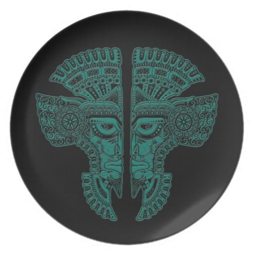 Teal Blue Mayan Twins Mask Illusion on Black Dinner Plate