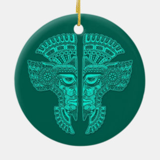 Teal Blue Mayan Twins Mask Illusion Double-Sided Ceramic Round Christmas Ornament