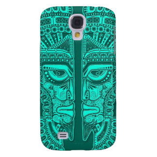 Teal Blue Mayan Twins Mask Illusion Samsung Galaxy S4 Cover