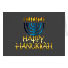 Teal Blue Menorah Flames Happy Hanukkah Card at Zazzle