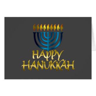 Teal Blue Menorah Flames Happy Hanukkah Card