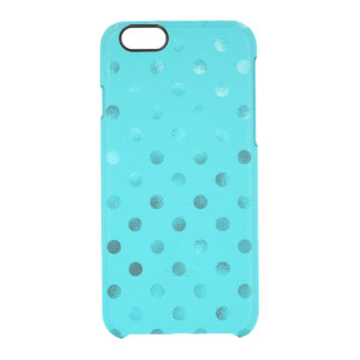 Teal Blue Metallic Faux Foil Polka Dot Aqua Clear iPhone 6/6S Case