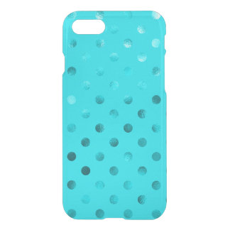 Teal Blue Metallic Faux Foil Polka Dot Aqua iPhone 7 Case