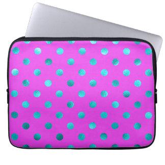 Teal Blue Metallic Faux Foil Polka Dot Purple Laptop Sleeve