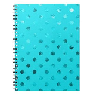 Teal Blue Metallic Polka Dot Pattern Swiss Dots Spiral Notebook