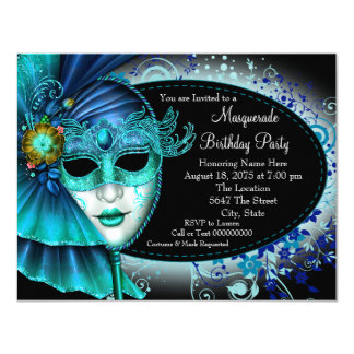 Teal Blue Midnight Masquerade Party Card