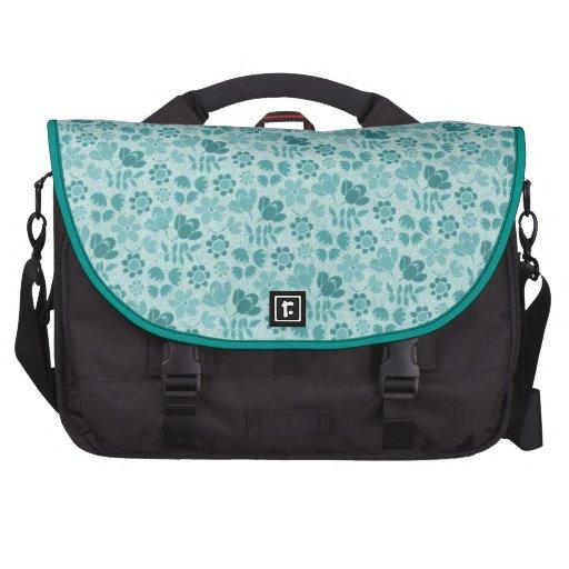 Teal Blue Mini Flowers Bag For Laptop