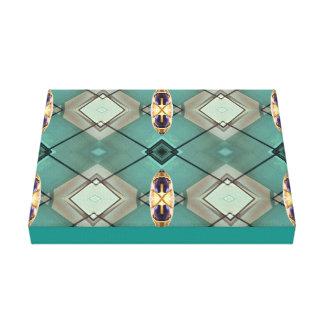 Teal Blue Mod Geometric Contemporary Art Canvas