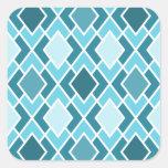 Teal Blue Modern Diamond Geometric Pattern Stickers