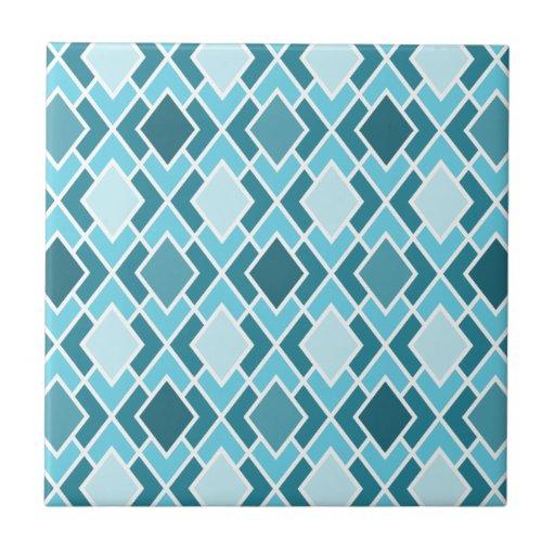 Teal Blue Modern Diamond Geometric Pattern Ceramic Tile Zazzle