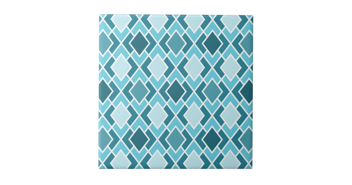 Teal Blue Modern Diamond Geometric Pattern Tile | Zazzle.com